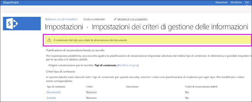 Avviso sul sito per segnalare l'uso dei criteri di eliminazione dei documenti