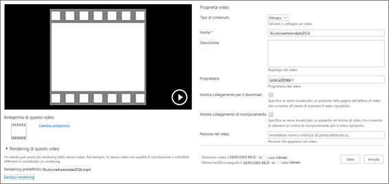 Pagina delle proprietà del video