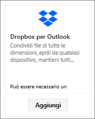 Screenshot che mostra il riquadro del componente aggiuntivo Dropbox per Outlook disponibile gratuitamente.
