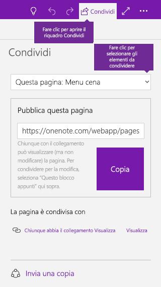 Schermata che mostra la condivisione di una singola pagina in OneNote