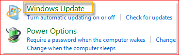 SelectStart>Control Panel>System and Security>Windows Update.