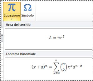 Equazioni preformattate nell'elenco Equazione