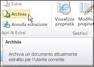Barra multifunzione di SharePoint con il puntatore del mouse che indica l'icona Archivia