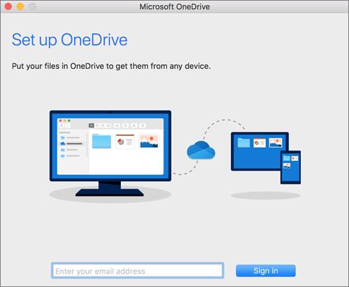 Screenshot della prima pagina dell'installazione di OneDrive