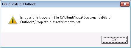 Finestra di dialogo che indica che non vi sono file di dati di Outlook (con estensione pst)