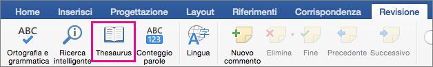 Opzione Thesaurus evidenziata nella scheda Revisione.