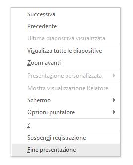 Mostra l'opzione Fine presentazione in PowerPoint