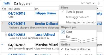 Elenco dei filtri disponibili per ordinare i messaggi
