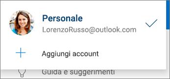 Aggiungi account nell'app OneDrive per Android