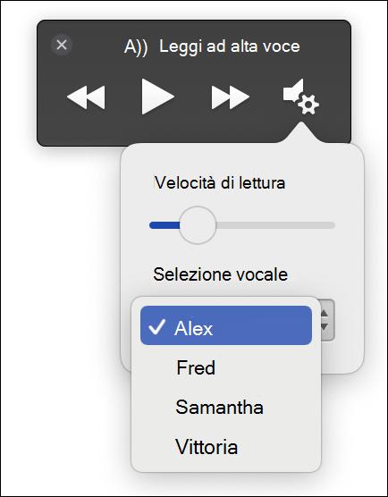 Quattro opzioni di selezione vocale visualizzate per Strumento di lettura immersiva di lettura ad alta voce