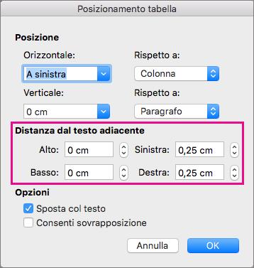 Impostare lo spazio tra la tabella selezionata e il corpo del testo in Distanza dal testo adiacente.