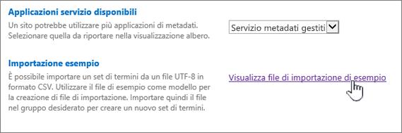 file di importazione di esempio di visualizzazione