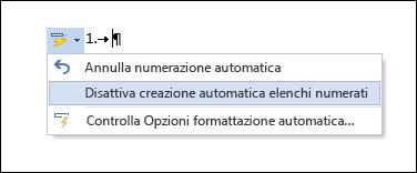 Opzioni di Elenchi numerati visualizzate in Correzione automatica.