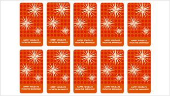 Dieci contrassegni rossi di regalo di festa con un disegno fiocco di neve moderno
