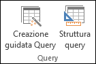 Nel gruppo Query della barra multifunzione di Access sono visualizzate due opzioni: Creazione guidata Query e Struttura query
