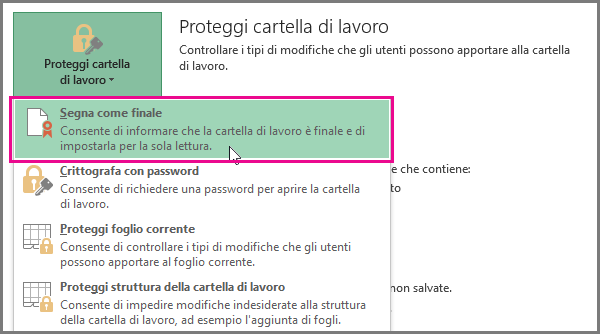 Segna come finale in Office 2016 Excel