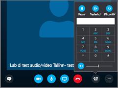 Screeshot che mostra la tastiera con i controlli audio