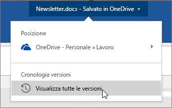 Cursore posizionato sul nome file, Visualizza tutte le versioni