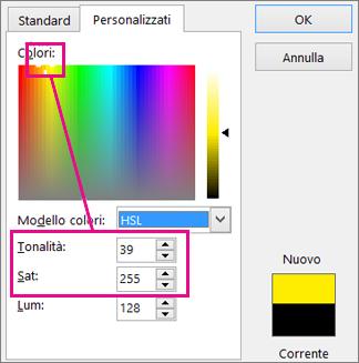 Selezione di rettangolo colori Imposta colore e la saturazione