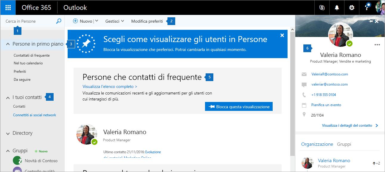 Screenshot della pagina Persone.