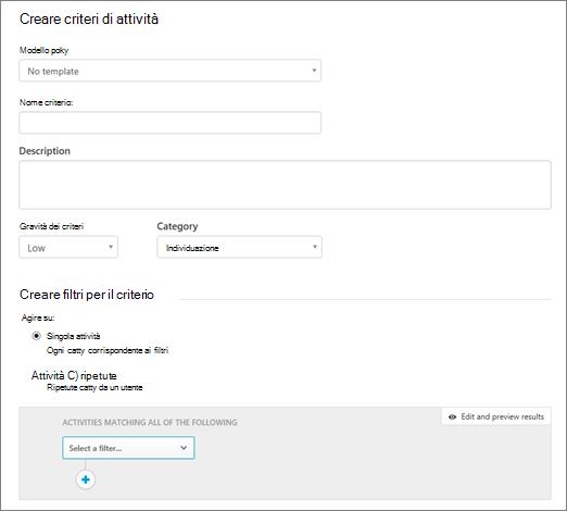 È possibile creare criteri di attività con sicurezza App Cloud di Office 365.