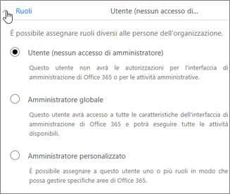 Espandere Ruoli se si vogliono assegnare diritti di amministratore all'utente.