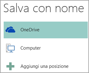 Screenshot dell'opzione Salva con nome in Publisher.