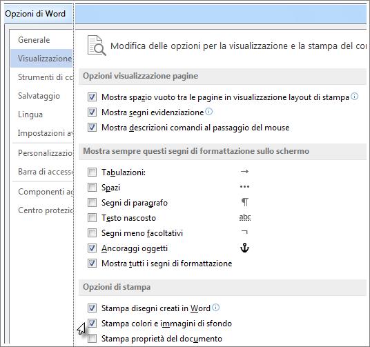 La casella di controllo Stampa colori e immagini di sfondo nella finestra di dialogo Opzioni di Word