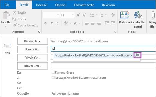 Lo screenshot mostra l'opzione Rinvia per un messaggio di posta elettronica. Nel campo Rinvia a la caratteristica Completamento automatico fornisce l'indirizzo di posta elettronica del destinatario in base alle prime lettere digitate del nome del destinatario.