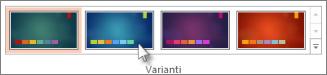 selezionare una variante o un tema