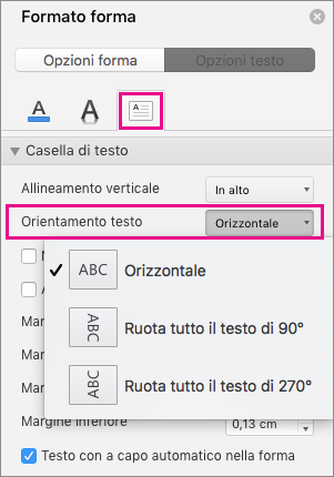 Opzione Orientamento testo evidenziata nel riquadro Formato forma.