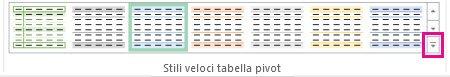 Pulsante Altro nella raccolta Stili veloci tabella pivot