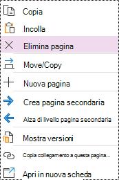 Opzione Elimina pagina evidenziata nel menu di scelta rapida della pagina in OneNote per Windows 10.