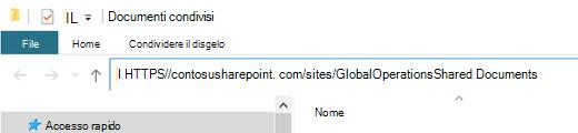 """In Esplora file selezionare l'indirizzo """"http://"""" visualizzato qui."""