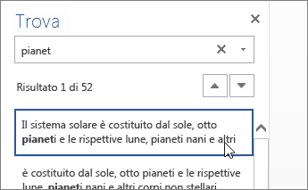 Riquadro Trova in Word Online
