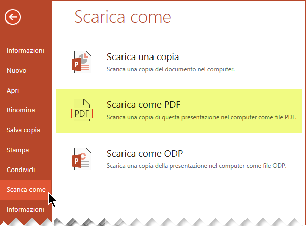 Fare clic su File > Scarica come > Scarica come PDF.