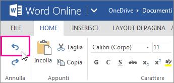 annullare una modifica in Word Online