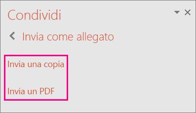Collegamento Invia un PDF in PowerPoint 2016