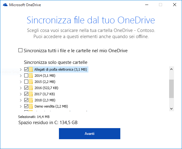 Sincronizzazione selettiva di cartelle di OneDrive for Business