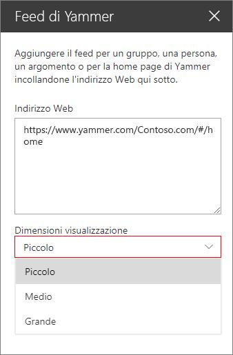 Casella dell'indirizzo web feed Yammer