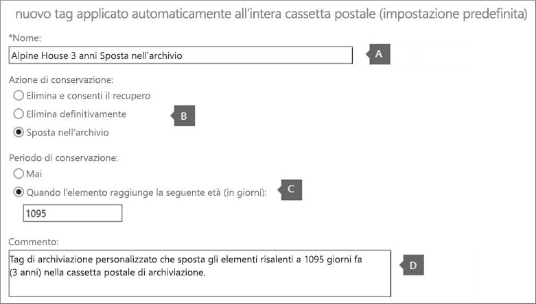 Impostazioni per creare un nuovo tag di criteri di archiviazione predefiniti