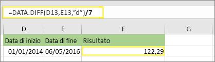 """=(DATA.DIFF(D13;E13;""""d"""")/7) e risultato: 122,29"""