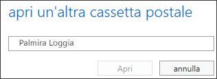 Finestra di dialogo Apri un'altra cassetta postale di Outlook Web App