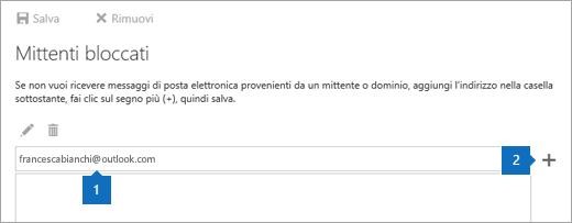 Screenshot della pagina Mittenti bloccati.