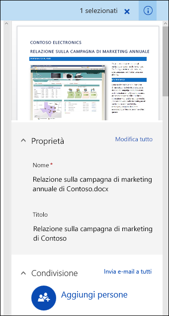 Riquadro dei metadati dei documenti di Office 365