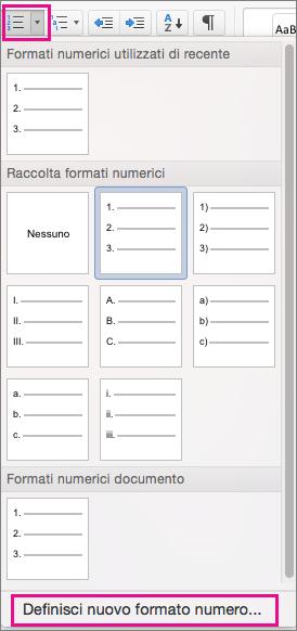 Nella scheda Home l'icona Elenco numerato e l'opzione Definisci nuovo formato numero sono evidenziate.