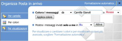 Riquadro Organizza in Microsoft Office Outlook 2007