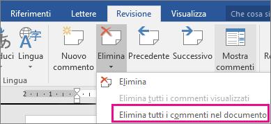Opzione Elimina tutti i commenti nel documento evidenziata nella scheda Revisione.