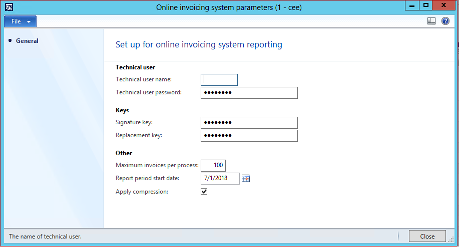 Online invoicing system parameters