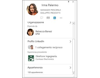 Scheda contatto con informazioni su LinkedIn
